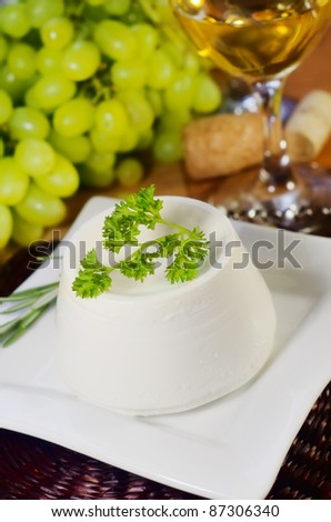 ricotta and wine - stock photo