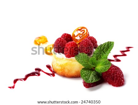 Ricotta Cheese Cake with Cream and Fresh Raspberry. Isolated on White Background - stock photo