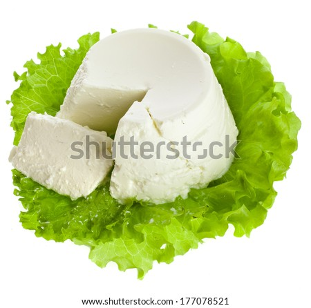 Ricotta Cheese isolated on white background  - stock photo