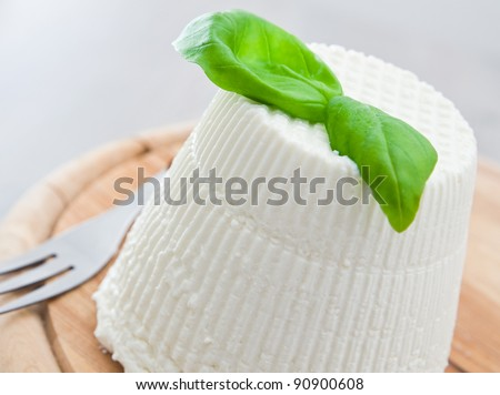 Ricotta cheese with basil leaves. - stock photo