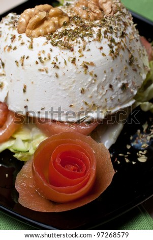 Ricotta cheese with vegetables - stock photo