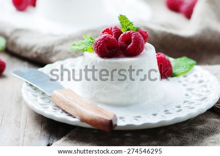 Ricotta with berry and mint, selective focus - stock photo