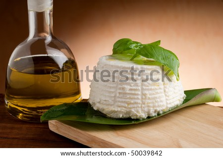 ricotta with olive oil - stock photo