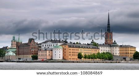 "Riddarholmen (""The Knights' Islet"") panorama, Stockholm, Sweden. - stock photo"