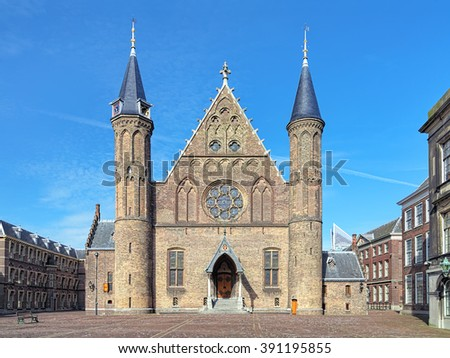 Ridderzaal (Hall of Knights), the main building of the 13th century Binnenhof in The Hague, Netherlands - stock photo
