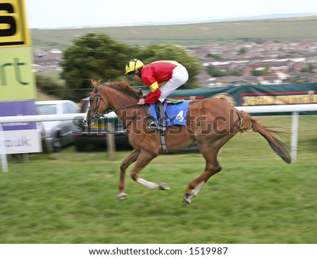 Rider at horse race - stock photo