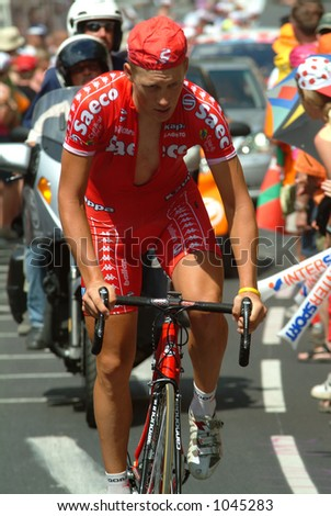 Rider from the Saeco Team - Alpe D'Huez stage - 2004 Tour de France