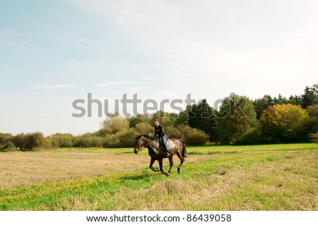 Rider gallops across the field. - stock photo