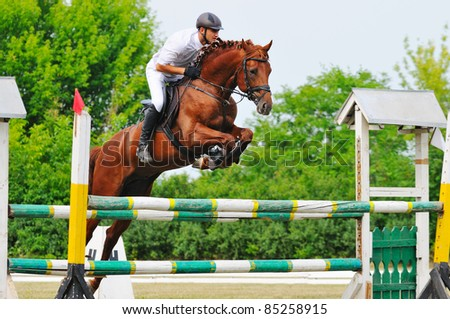 Rider in jumping show - stock photo