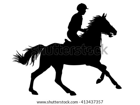 Jockey Riding A Horse Races Competition Silhouettes On White