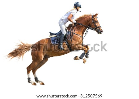 Rider jumping on horse isolated on white.