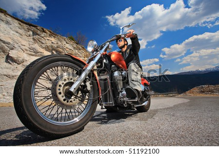 Rider on a chopper - stock photo