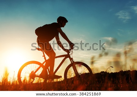 Rider on Mountain Bicycle it the field - stock photo