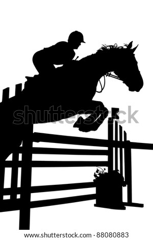 Rider's silhouette on white background - stock photo