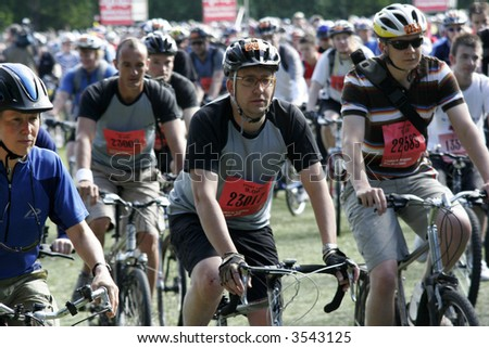 Riders at the start of the London to Brighton bike ride. - stock photo