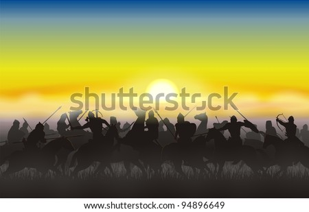 Riders went into battle against the rising sun - stock photo