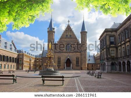 Riderzaal of Binnenhof - Dutch Parliamentat summer day, The Hague, Holland - stock photo