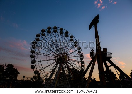 Rides at amusement park