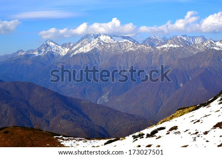 Ridge Achishkho - the wettest place in Russia. Early autumn in the mountains of Krasnaya Polyana, Sochi.  - stock photo