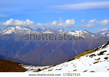 Ridge Achishkho - the wettest place in Russia. Strongly pronounced altitudinal zone. Early autumn in the mountains of Krasnaya Polyana, Sochi. - stock photo