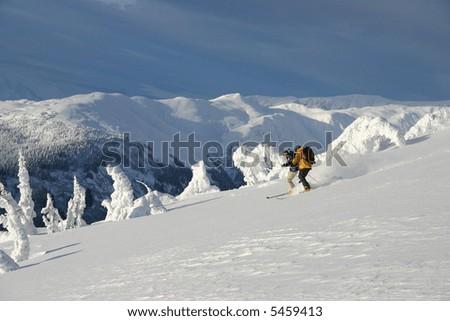Ridge Skiing - stock photo