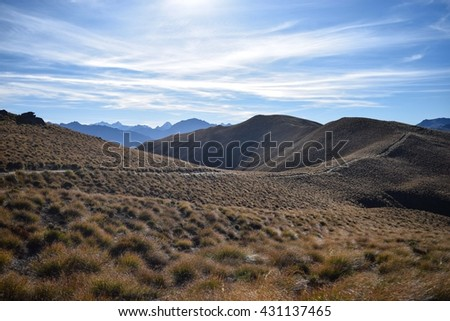 Ridge Trail in New Zealand (Wanaka) - stock photo