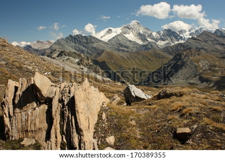 ridges in Val d'Anniviers - stock photo