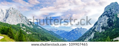 Ridges on the road to Bovec, Slovenia - stock photo