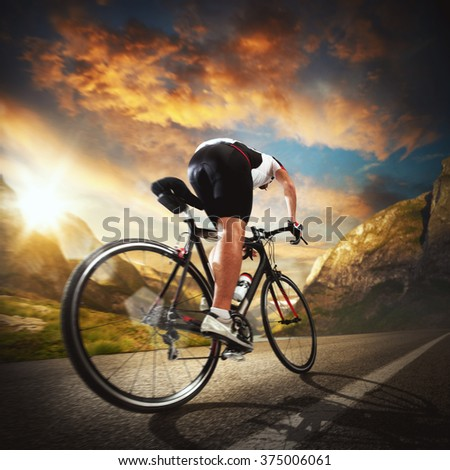Riding between  the mountains - stock photo