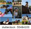 riding children and their ponies or horses in the nature - stock photo