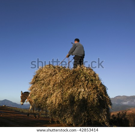 riding farmer in the southwest of china - stock photo