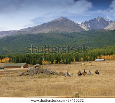 Riding in Rocky Mountain National Park - stock photo