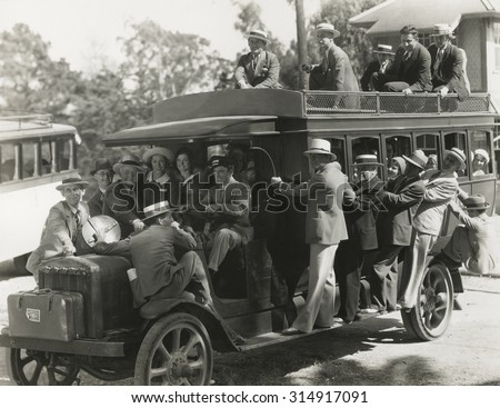 Riding on doubledecker bus - stock photo
