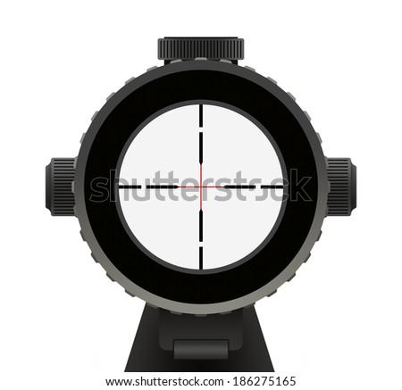 Riffle Scope with Red Cross Hair Isolated on White Background. - stock photo