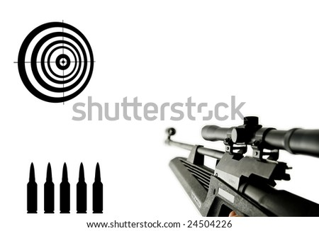 Rifle aiming at target - stock photo