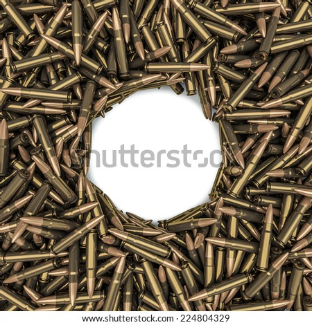 Rifle bullets frame - stock photo