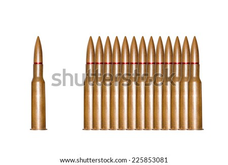 Rifle bullets in a row isolated - stock photo