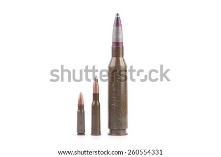 rifle bullets isolated on white background - stock photo