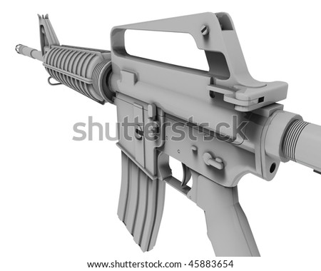rifle in a white background - stock photo