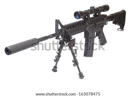 rifle M4 with bipod isolated on a white background - stock photo