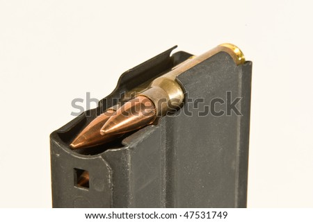 Rifle magazine and bullets - stock photo
