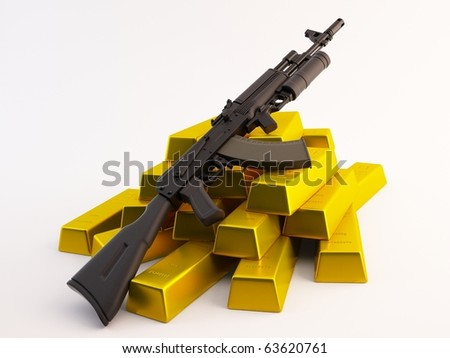 Rifle on a pile of gold bars - stock photo
