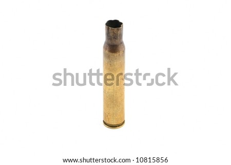rifle shell casing on a white background - stock photo