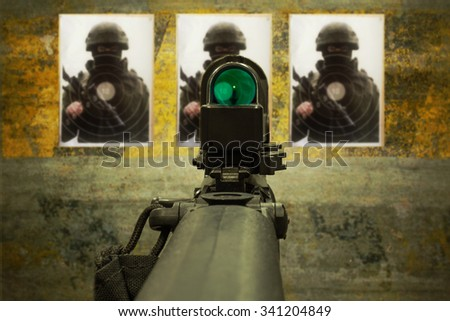 rifle with red-dot sight - stock photo