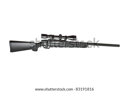 Rifle with scope on white - stock photo