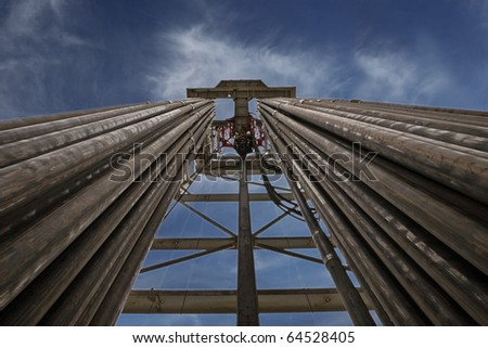 Rig on background the dark sky - stock photo