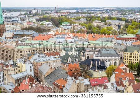 Riga aerial view - stock photo