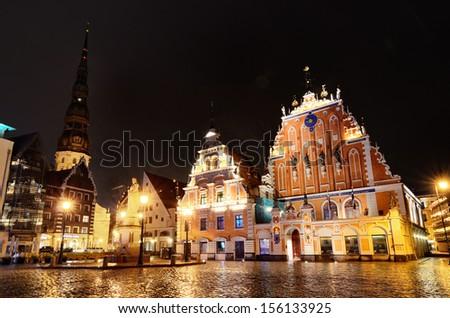 Riga Blackheads house by night - stock photo