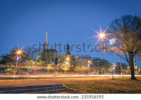 Riga by night - Skyline cityscape of latvian city - Capital of Culture 2014 - Small famous cities of baltic countries - stock photo