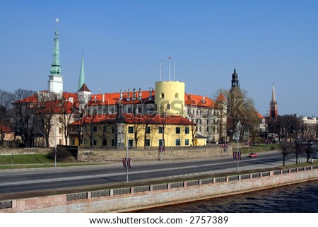 Riga - capital of Latvia. President castle, old city and towers.